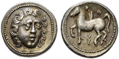 116: Kelten. Tetradrachme, Typus Larissa-Apollokopf / Zweigreiter. Dembski 1124. f. vz. Rufpreis: 5.000 Euro.