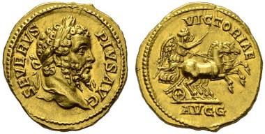 1064: Römische Kaiserzeit. Septimius Severus. Aureus, 202-210 n. Chr., Roma. RIC 299 (R2). vz. Rufpreis: 24.000 Euro.