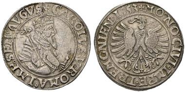 2185: Altdeutschland. Dortmund. Taler mit Titel und Portrait von Karl V., 1553. Dav: 9173. Vermutlich zweites bekanntes Exemplar. gutes ss. Rufpreis: 30.000 Euro.