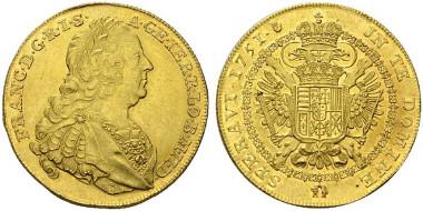 4847: Franz I. Stefan. 10 Souverains d'or, 1751, Antwerpen min. vzgl./stplfr. Rufpreis: 50.000 Euro.