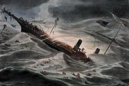J. Childs, Gemälde vom Schiffsuntergang der Central America, 1857. Quelle: National Maritime Museum, London.