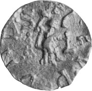 The coin is easily misread as having the obverse inscription EGOMANIAC! Arent Pol provided the correct description: 'the extraordinary tremissis, with legend PECOMANIACO (an unidentified location), when positioned correctly shows a moneyer at work on the reverse (and possibly a hand held die on the obverse as well); the design may be a pun to the name of the place (