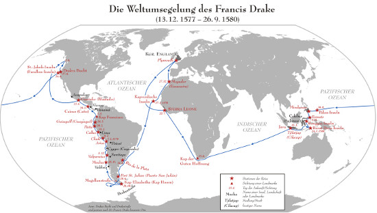 Die Weltumsegelung des Francis Drake, 1577-1580. Quelle: Lencer / http://creativecommons.org/licenses/by-sa/3.0/deed.en