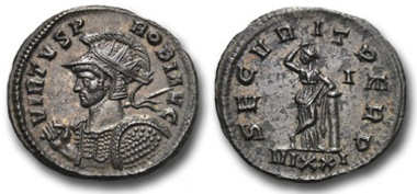 Antoninianus showing, on the obverse, Probus in military dress. Ex Pecunem & Gitbud & Naumann, Auction 9 03/11/2013; Probus, antoninianus: VIRTVS PROBI AVG, helmeted, radiate and cuirassed bust of Probus left, holding with his right hand a spear leant against his right shoulder, with his left a shield; SECVRITAS PERP, Securitas stands facing forwards, her head turned to the left, and leaning on a column. Ticinum mint. RIC 526, C 617.
