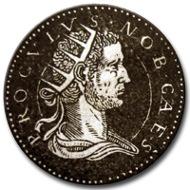 Image of a fantasy coin of Proculus, taken from J. de Strada, Epitome Thesauri Antiquitatum, hoc est, Impp. Rom. Orientalium et Occidentalium iconum, ex antiquis numismatibus quàm fidelissimè delineatarum: ex musaeo Iacobi de Strada Mantuani antiquarii, (Lyon, 1553) p. 163.
