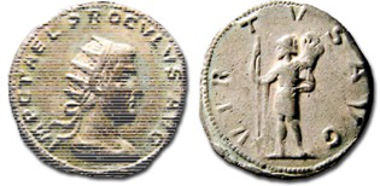 A third specimen cast originating from the matrices of the 16th century forgery. The coin is preserved at Lyon. Source: S. Estiot, Atti del XIIe colloque international de l'HA, 2-4 juin 2011 Nancy, Probus et les 'tyrans minuscules', Proculus et Bonosus. Que dit la monnaie?, in the press.).