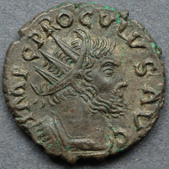 The first known antoninianus of Proculus. Auction sale Aufhäuser 8, 9-10/X/1991, 640, (München 1991/350). Foto (c) Andreas Pangerl, www.romancoins.info
