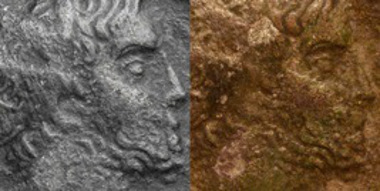 Image of the second example before and after its inclusion in the Numismatik Lanz sale: in the second image the silvering can be seen underlying the patina.