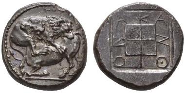 27: Greeks. Macedonia, Acanthus. Tetradrachm, circa 424-380. Extremely fine. Starting bid: £1,000.