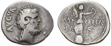 108: Roman Republic. Octavianus with Pinarius Scarpus. Denarius, circa Cyrenaica, circa 31 BC. Syd. 1281. Bold Fine. Starting bid: £1,000.