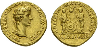 114: Imperial Rome. Octavian as Augustus. Aureus, circa 2 BC-4 AD, Lugdunum. RIC 206. About extremely fine. Starting bid: £3,000.