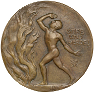 Abb. 1 Benno Elkan, Stirb und werde! (1915), Rückseite. Bronze 96 mm. © Staatliche Museen zu Berlin, Münzkabinett/ Reinhard Saczewski.