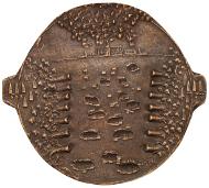 Abb. 3 Andreas A. Jähnig, Industrielle Vernichtung (2013). Vorderseite und Rückseite. Bronze, 90-102 mm. © Staatliche Museen zu Berlin, Münzkabinett/ Reinhard Saczewski.