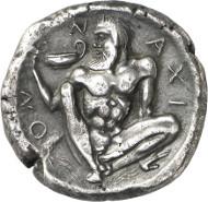 Lot 45: NAXOS (Sicily). Tetradrachm, c. 460 B. C. Ex Ward Coll. (Sotheby's Zurich 1973), 176. Very rare. Slightly coarse surface. Very fine / very fine to extremely fine. Estimate: 8,000 euros. Final price: 47,000 euros.