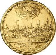 Lot 3256: GERMANY. Nuremberg. Gold pattern of 5 ducats of the thaler 1698 on the Treaty of Ryswick. Very rare. Extremely fine to FDC. Estimate: 18,000 euros. Final price: 33,500 euros.
