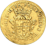 2895: Malta / Sovereign Order. Ramon Perellos y Roccaful, 1697-1720. 2 zecchini n. d., Valetta. Fb. 20. Only two specimens available on the market. About very fine. Estimate: 10,000 euros. Hammer price: 24,000 euros.