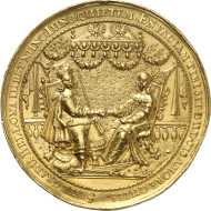 5027: Baums Collection. Poland. Danzig. Gold medal of 16 ducats 1646 by J. Höhn, on the second wedding of Wladyslaw IV with Marie Louise Gonzaga. H.-Cz. 1859var. (silver there). From auction sale Helbing 38 (1913), 3022. Extremely rare. About extremely fine. Estimate: 20,000 euros. Hammer price: 42,000 euros.