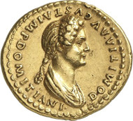 7491: Roman Imperial Times / Domitia, wife of Domitian. Aureus, 82/3 or later. BMC -. Extremely rare. Extremely fine. Estimate: 30,000 euros. Hammer price: 65,000 euros.