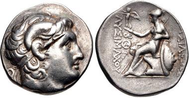 24: Kings of Thrace, Macedonian. Lysimachos. Tetradrachm, struck circa 297/6-282/1 BC, Lampsakos mint. Müller 315. VF. Estimate $300.
