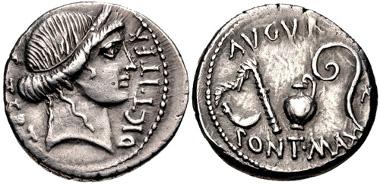 342: The Caesarians. Julius Caesar. Denarius, January-April 46 BC, Utica(?) mint. Crawford 467/1b; Good VF. Estimate $300.