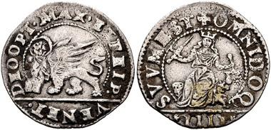 595: Italy, Venezia (Venice). Anonymous. Quattro gazzete, decreed 10 April 1570. Paolucci 723. VF. Estimate $100.