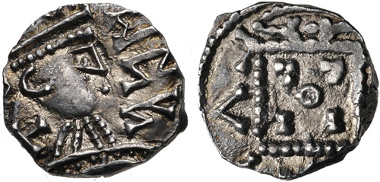 611: Anglo-Saxon, Primary Sceattas. Sceat, circa 710-720, uncertain mint. Abramson 11.20; From the Peter Moffat Collection. Near EF. Estimate $300.