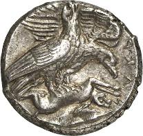7050: Griechen / Akragas. Tetradrachme, um 411 v. Chr. Franke-Hirmer Tf. 61, 178 (stgl.). Sehr selten. Vorzüglich. Schätzung: 25.000 Euro. Zuschlag: 32.000 Euro.