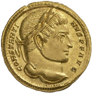 Roman Imperial Times. Constantine I (307-337). Solidus, Trier, 314. Laureate head of Constantine r. Rev. Constantine, standing right, clad in military garments; to his left goddess Roma is sitting, with helmet, shield and spear; the two of them are holding the globe. © MoneyMuseum, Zurich.