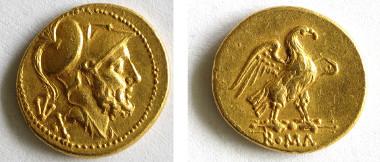 Ein 60-Asse-Goldstück (ca. 211 v. Chr.) mit dem Kriegsgott Mars und dem Adler Jupiters (A 144).