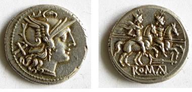 Denar (ca. 200 v.Chr.) mit der Göttin Roma und den im Kampf helfenden Dioskuren (A 444).
