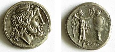 Der Staatsgott Jupiter und die Siegesgöttin vor einem Siegesdenkmal auf einem Victoriat von ca. 211 v. Chr.(A 163).