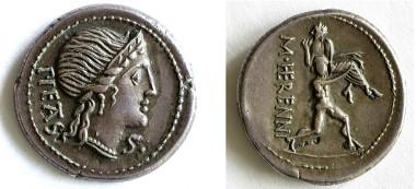 Pietas, die Frömmigkeit, auf einem Denar von 108 v. Chr., auf der Rückseite rettet Amphinomus seinen Vater vor einem Ausbruch des Ätna als Beispiel pflichtgemäßen Verhaltens (A 1100).