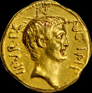 Marc Antony, died 30 BC. Gold Portrait, Aureus.