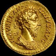 Marcus Aurelius Emperor, 161 - 180 AD. Gold Portrait, Aureus.