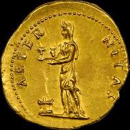 Titus Caesar 69 - 79 AD. Gold Portrait, Aureus.