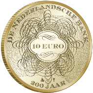 Netherlands/ 10 EUR/ Gold 900/100/ 6.72 g/ 22.5 mm/ Mintage: 1,500.
