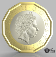 Prototype of the new GPB 1 coin. © Royal Mint.