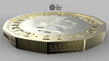 Side-view of the prototype new GPB 1 coin. © Royal Mint.
