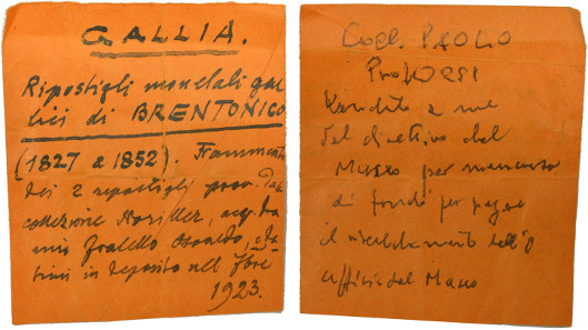 This document tells us that the coins were given up for sale by the Museum in Rovereto in order to pay for heating bills. The document was found among the Celtic gold coins at an auction a few months ago.(Coll. Paolo Prof. Orsi. Venduto a me dal direttivo del museo per mancanza di fondi per pagare il riscaldamento dell'ufficio del museo).