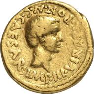 Nr. 80: RÖMISCHE REPUBLIK. Octavian. Aureus, 43 v. Chr. Cr. 493/1c. Syd. 1167. Erworben bei Ciani am 5. Mai 1955. Sehr selten. Fast sehr schön. Taxe: 5.000 Euro.