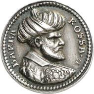Nr. 1007: RDR. Silber-Schaumünze o. J. (1546) von Ludwig Neufahrer auf Chaireddin, genannt Barbarossa, Bey von Algier (1518-1546). Habich 1403. Äußerst selten. Sehr schön. Taxe: 3.750 Euro.
