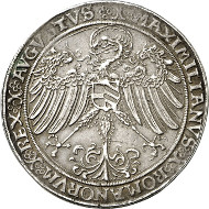 Nr. 1681: ALTDEUTSCHLAND / SACHSEN. Friedrich III. (1486-1525). Guldengroschen o. J. (1513), Nürnberg, auf die Generalstatthalterwürde. Dav. 9707. Schnee 38. Sehr selten. Sehr schön bis vorzüglich. Taxe: 9.500 Euro.