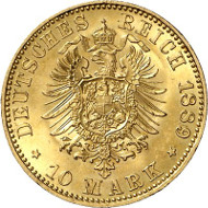 Nr. 2433: KAISERREICH / PREUSSEN. 10 Mark 1889. J. 249. N. 253. EPA 10/40. In dieser Erhaltung äußerst selten. Fast Stempelglanz / Stempelglanz. Taxe: 17.500 Euro.