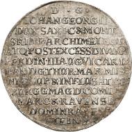 2488: Sachsen-Albertiner, Johann Georg II. Breiter Doppeltaler, 1657, Eichel-Dresden. C/K 489. vz. Taxe: 5.800 Euro.