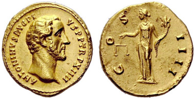 153: Roman Empire. Antonius Pius. Aureus, 150/151, Rome. RIC 192a. Extremely fine. Estimated: 4,500 CHF.