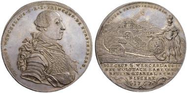 1399: Germany. Principality of Fürstenberg, Joseph Wenzel. 4 Konventionstaler, 1767, Stuttgart. Dav. 2269. Nearly FDC. Estimated: 40,000 CHF.