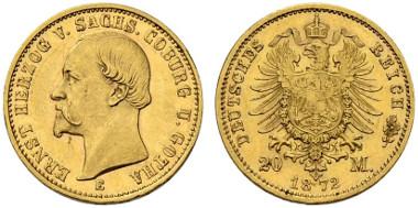 1935: German Empire. Duchy Saxe Coburg and Gotha, Ernst II. 20 Mark, 1872, Dresden. J. 270. Very fine-Very fine+. Estimated: 65,000 CHF.