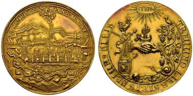 3679: Switzerland. Zurich. 10 ducats n. y. after 1678. Schweizer Medaillen 384 & 386. Apparently unknown as 10 ducat. Extremely fine. Estimated: 25,000 CHF.