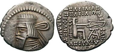 46: Parthian Kingdom. Artabanos III. AR drachm, ca. A.D. 80-90, Ecbatana. Sellwood 63.6 (Artabanos II); Shore 341 (Artabanos II). VF. Estimate: $175.