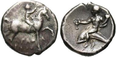 3: Calabria, Tarentum. AR nomos, ca. 272-240 B.C. Vlasto 852; HN Italy 1028. aVF. Estimate: $300.